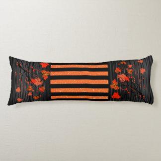 Art déco floral con el naranja y las rayas negras cojin cama