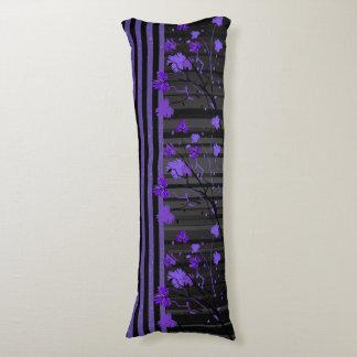 Art déco floral con púrpura y las rayas negras cojin cama