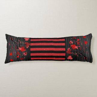 Art déco floral con rojo y rayas negras cojin cama