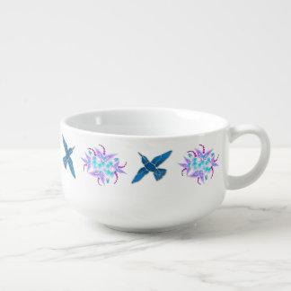 Art déco floral del colibrí bol para sopa