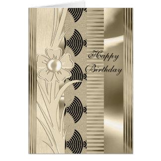 Art déco floral del oro de la luz del cumpleaños d tarjeta
