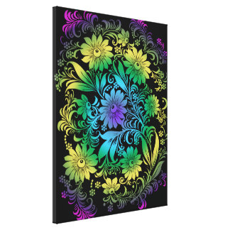 Art Deco  Floral Rainbow Canvas Print