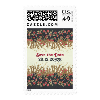 Art Deco Floral refwi2 wedding save the date Stamps