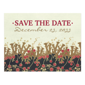 Art Deco Floral refwi2 wedding save the date Postcards