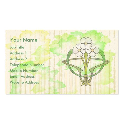art deco floral water color wash business cards