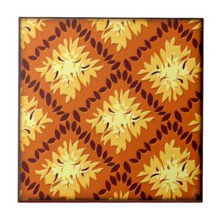 Art Deco Flower Grid (Pumpkin Spice, Goldenrod) Small Square Tile