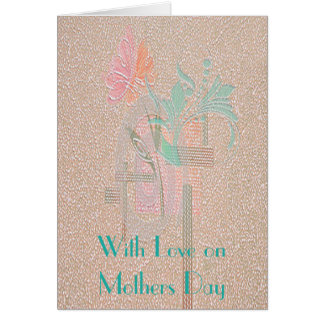 ART DECO FLOWER MOTHERS DAY GREETING CARD