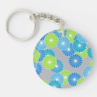 Art Deco flower pattern - blue and lime green Keychain
