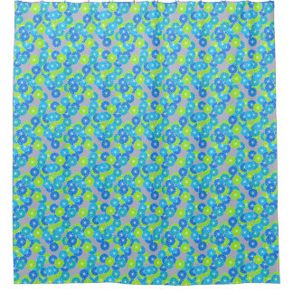 art deco flower pattern blue and lime green shower curtain