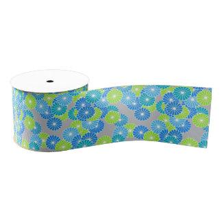 Art Deco flower pattern - blue and lime green Grosgrain Ribbon