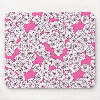 Art Deco flower pattern - cream on pink Mouse Pad