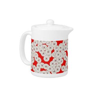Art Deco flower pattern - cream on red