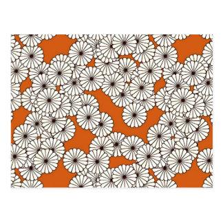 Art Deco flower pattern - cream on rust Postcard