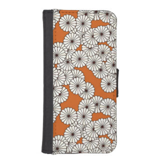 Art Deco flower pattern - cream on rust Wallet Phone Case For iPhone SE/5/5s