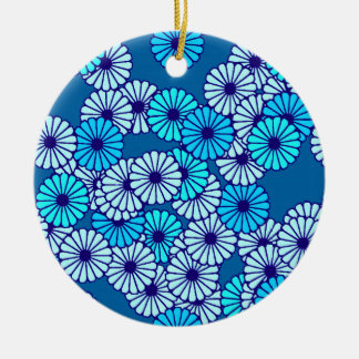 Art Deco flower pattern - shades of blue Ceramic Ornament