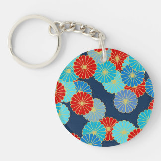 Art Deco flower pattern - shades of blue with red Acrylic Keychain