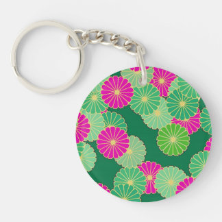 Art Deco flower pattern - shades of green, fuchsia Key Chain