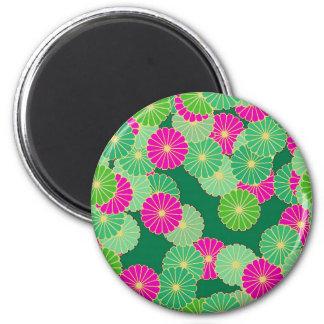 Art Deco flower pattern - shades of green, fuchsia Magnet
