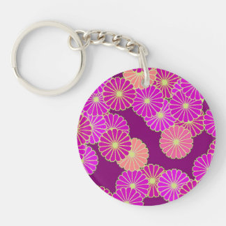 Art Deco flower pattern - shades of violet, coral Keychain