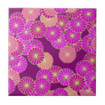 Art Deco flower pattern - shades of violet, coral Ceramic Tiles