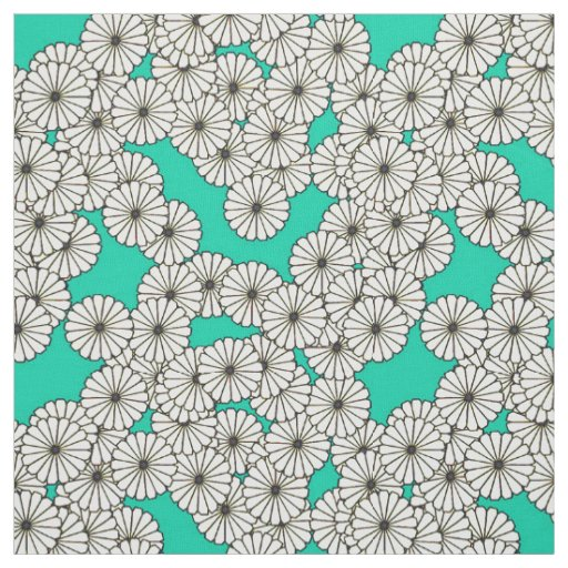Art Deco flower pattern - white on turquoise Fabric | Zazzle
