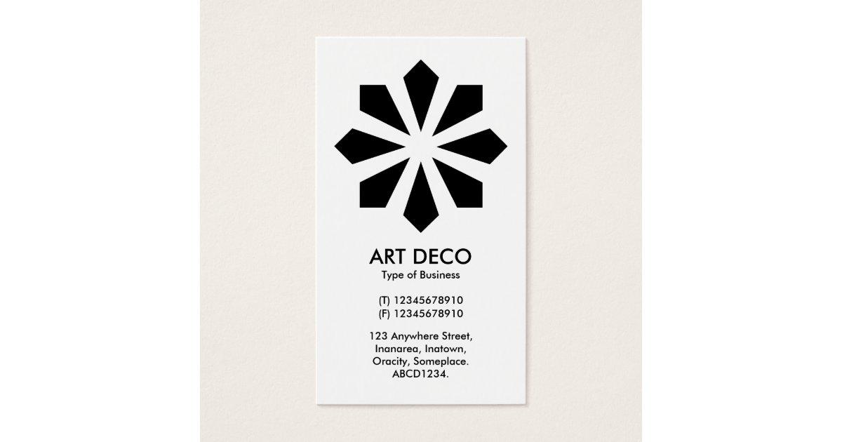 Art Deco Flower Star - White front, Black Back Business Card ...