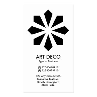 Art Deco Flower Star - White front, Black Back Double-Sided Standard Business Cards (Pack Of 100)