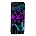 Art Deco Flowers and Butterfly Case-Mate iPhone 4 Cases
