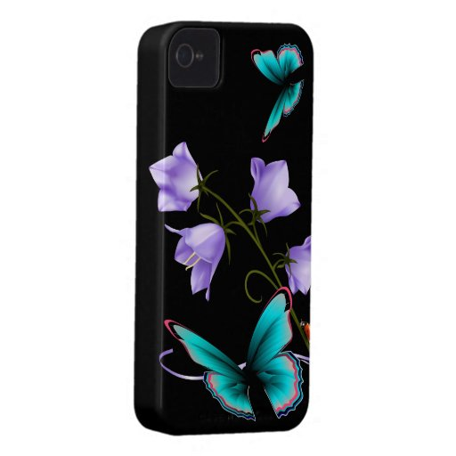 Art Deco Flowers and Butterfly iPhone 4 Case-Mate Cases