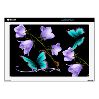 "Art Deco Flowers and Butterfly Decal For 17"" Laptop"