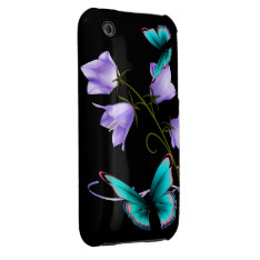 Art Deco Flowers And Butterfly Iphone 3 Case at Zazzle