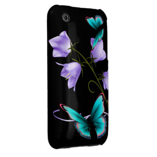 Art Deco Flowers and Butterfly iPhone 3 Case