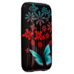 Art Deco Flowers and Butterfly Tough iPhone 3 Case