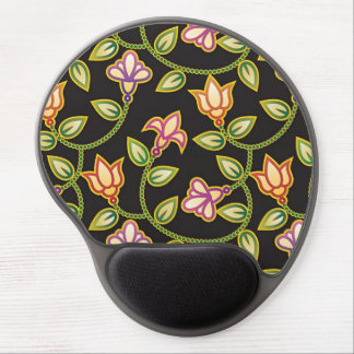 Art Deco Flowers, Leaves and Beads on Black Gel Mouse Pads