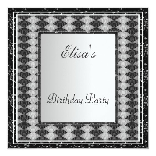 Art Deco Frame Black  Birthday Party White Custom Announcements