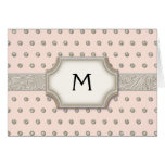 Art Deco Frame Champagne Silver Jewel Dots Greeting Card