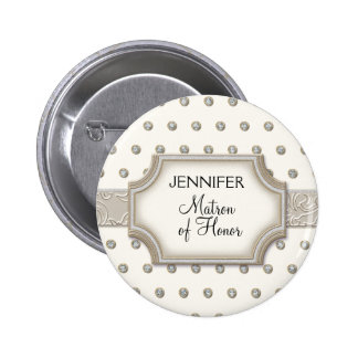 Art Deco Frame Champagne Silver Jewel Dots Pinback Button