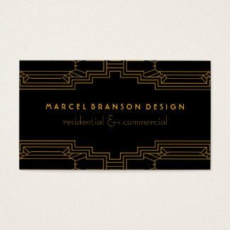 Art Deco Frame Gold on Custom Color Black Business Card