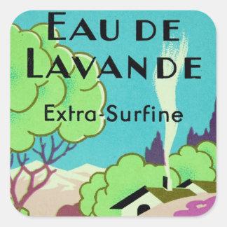 Art Deco French Lavender Farm Square Stickers