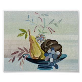 Art Deco Fruit Bowl Poster