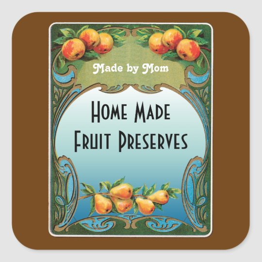 Art Deco Fruit Custom Canning Sticker