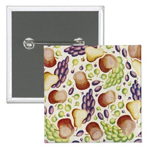Art Deco Fruit Design Pinback Button