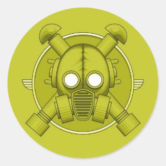 Art Deco Gasmask Combat Green Round Sticker