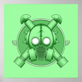 Art Deco Gasmask Green Poster