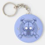Art Deco Gasmask keychain Blue