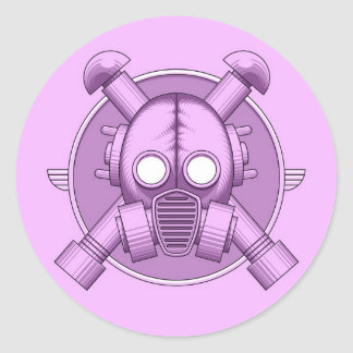 Art Deco Gasmask Lilac Stickers