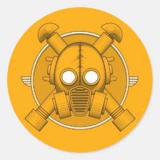 Art Deco Gasmask Orange Round Sticker