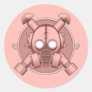 Art Deco Gasmask Pink Round Sticker