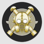 Art Deco Gasmask Round Stickers