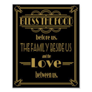 Art Deco Gatsby Bless the food table Poster